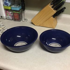 Pyrex vintage mixing bowls dark blue great cond